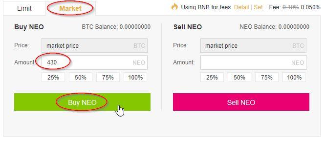 """Als je voor """"Market"""" kiest, dan betekent dit dat je ervoor kiest om NEO te kopen voor de laagste prijs dat traders bereid zijn hun NEO voor te verkopen. Dat is in het voorbeeld hierboven dus de prijs van 0,002324 Bitcoin. Het grote voordeel hieraan is dat je direct je NEO krijgt en dus geen risico loopt dat de koers opeens een andere kant opgaat. Voor de echte beginner is dit daarom ook aan te raden. Voordat je NEO kan kopen, moet je alleen wel nog even wat rekenen."""