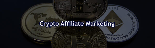 Crypto affiliate marketing met cryptomunten op de achtergrond